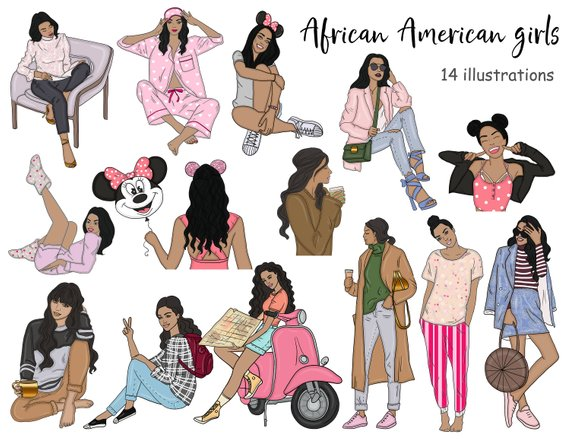 Fashion Icons Planner Stickers Icons African American girls.