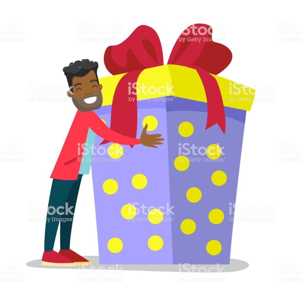 Joyful Africanamerican Man Hugging Birthday Gift Stock Illustration.