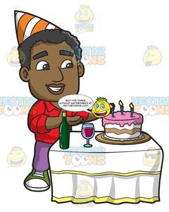 A Black Man Appreciating His Birthday Cake.
