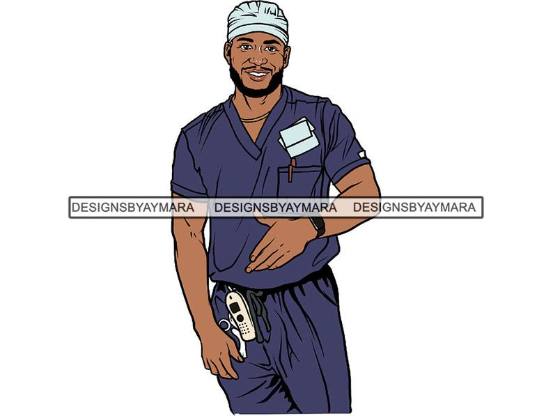 Black Man Nurse Handsome King Boss Men Attractive Sexy African American  Male .SVG .EPS .PNG Jpg Vector Clipart Not For Cutting.