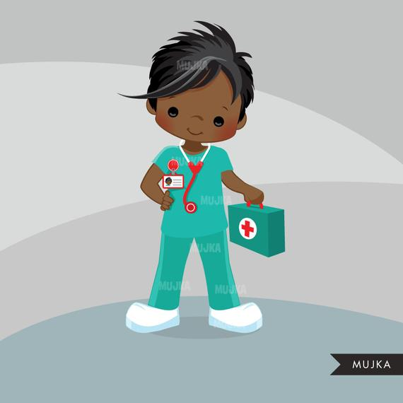Male Nurse Clipart. Little Boy Graphics, medical, hospital, , embroidery,  commercial use, chore chart, black.