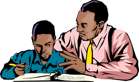 African American Teacher And Student Clipart.