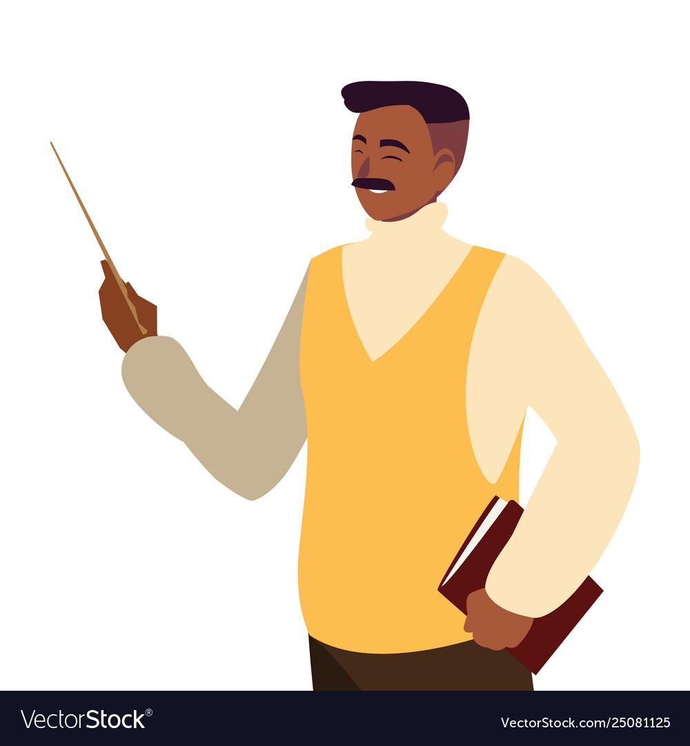 Black teacher male avatar character.