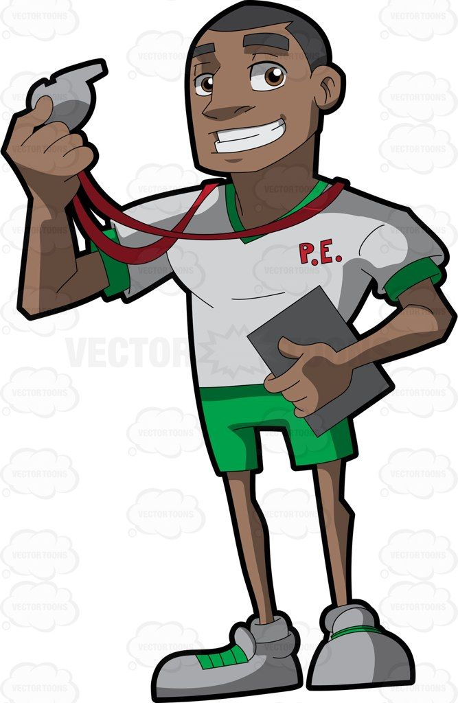 A black gym class teacher #cartoon #clipart #vector.
