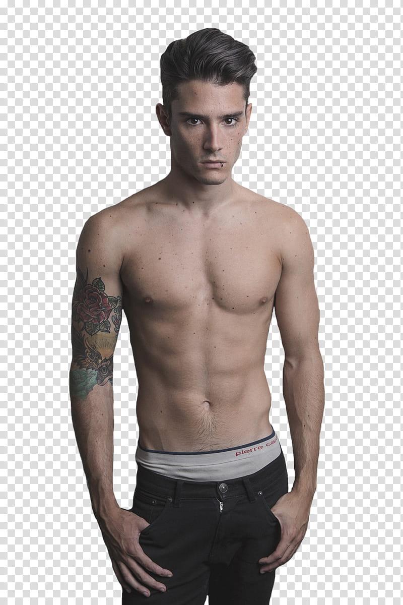 Male Models, topless man holding black bottoms transparent.