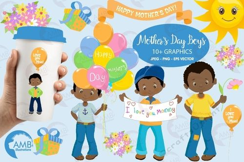 Mothers day Clipart, African American Mothers Day boys, Mom.