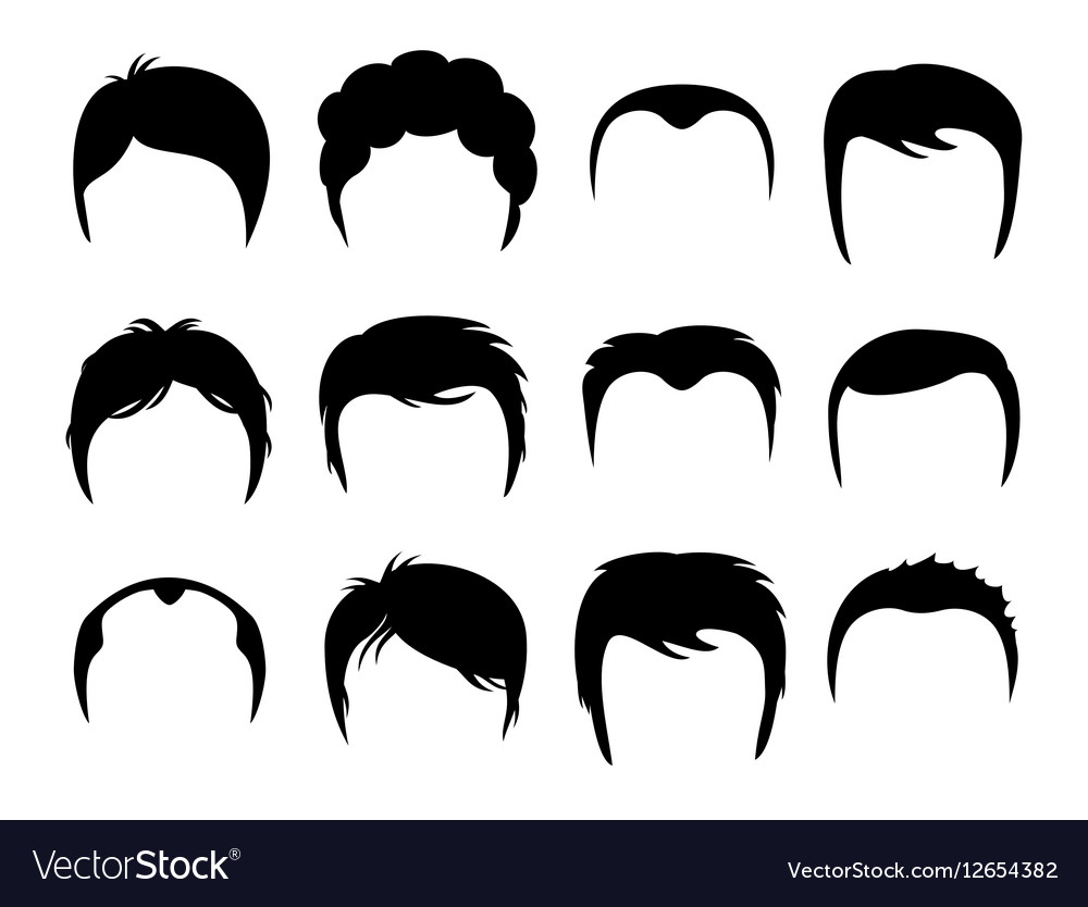 Men silhouette shapes of haircuts.