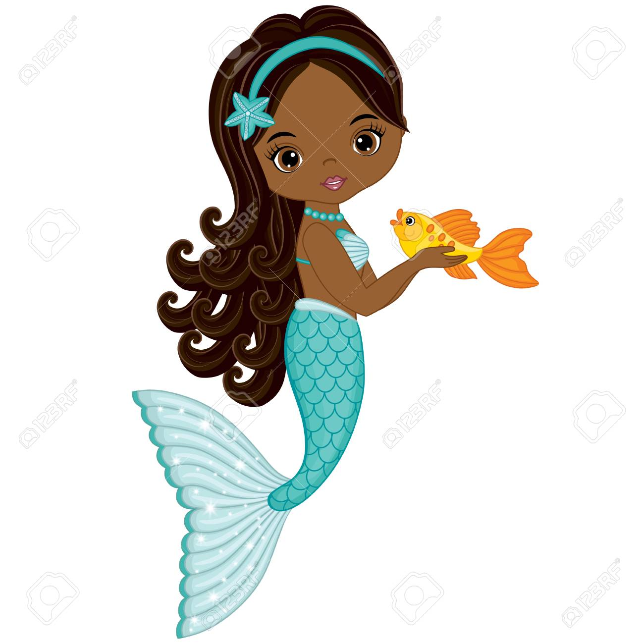 Vector cute little mermaid with fish. Vector African American...
