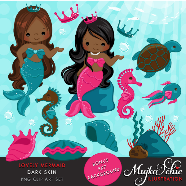 Lovely Little Mermaid Clipart Dark Skin.