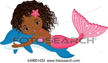 Vector Cute Little Mermaid Swimming with Dolphin. Vector African American  Mermaid Clipart.