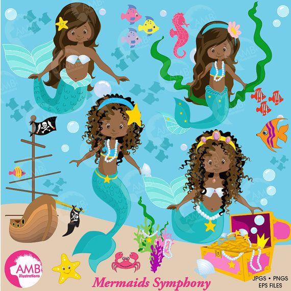 Mermaid clipart, African American Mermaids Clipart, dark skin.