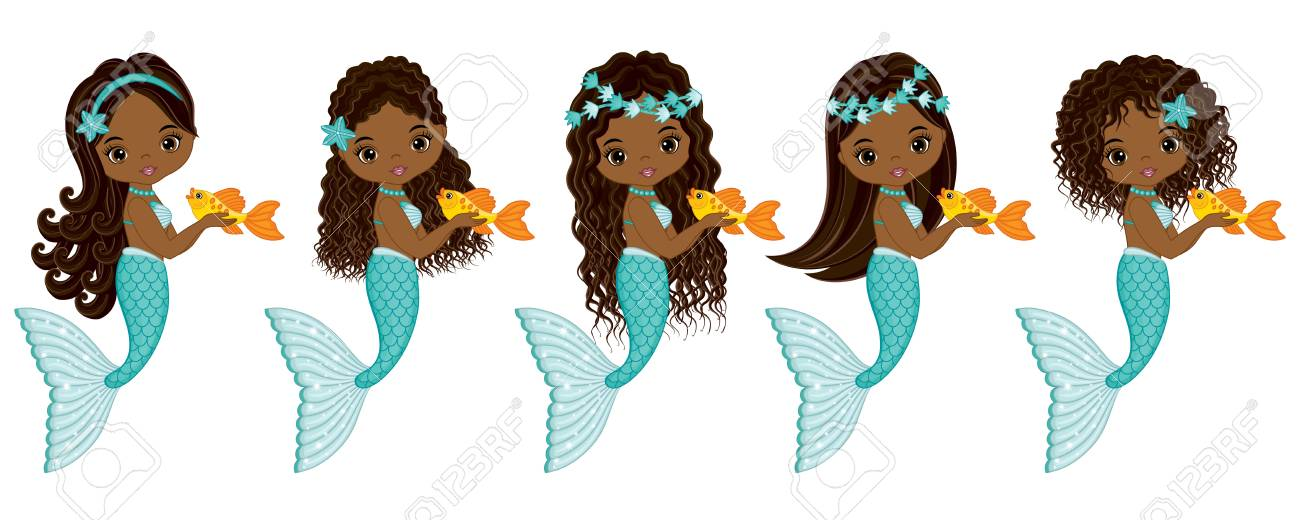 Vector cute little mermaids with fish. Vector African American...
