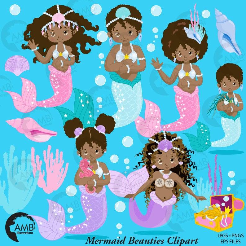 Mermaid clipart, African American mermaids, pastel mermaid graphics,  mermaid princess, card making, planner stickers, AMB.