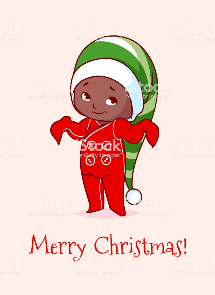 Christmas Card With A Cute African American Baby Stock Illustration.