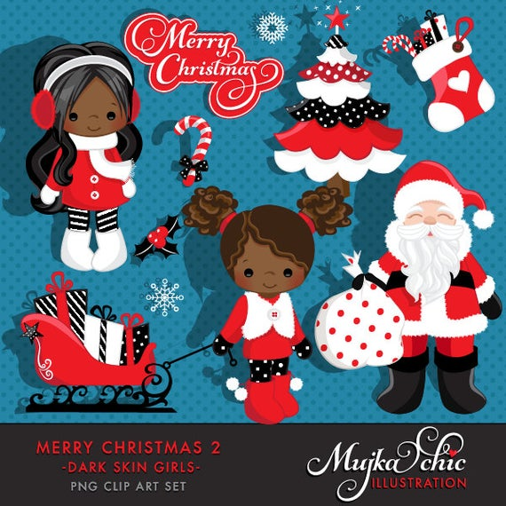 Merry Christmas Clipart African American Girls 2 Clipart Instant.