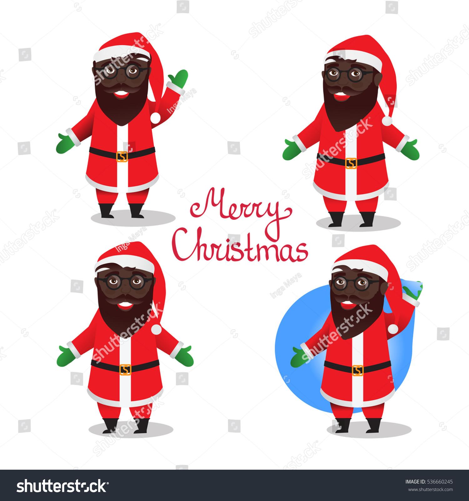 Set Santa Claus Black African American Stock Vector (Royalty Free.