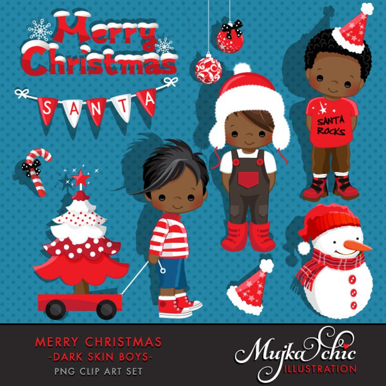 Merry Christmas Clipart African American Boys Instant Download Christmas  Graphics.