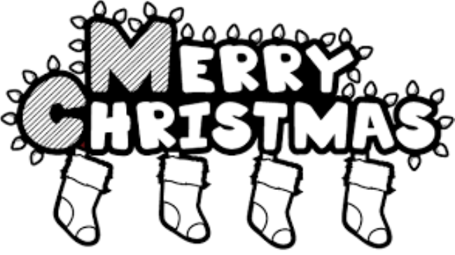 Art gallery Merry Christmas Clipart 2019 Black and white.