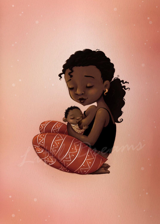 Breastfeeding black mother illustration.