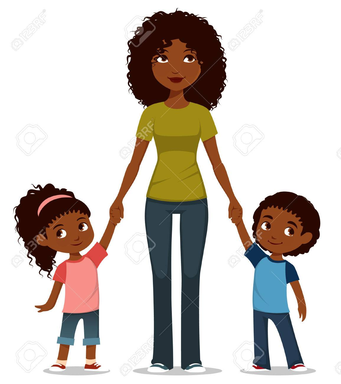 cartoon illustration of an African American mother with two kids.