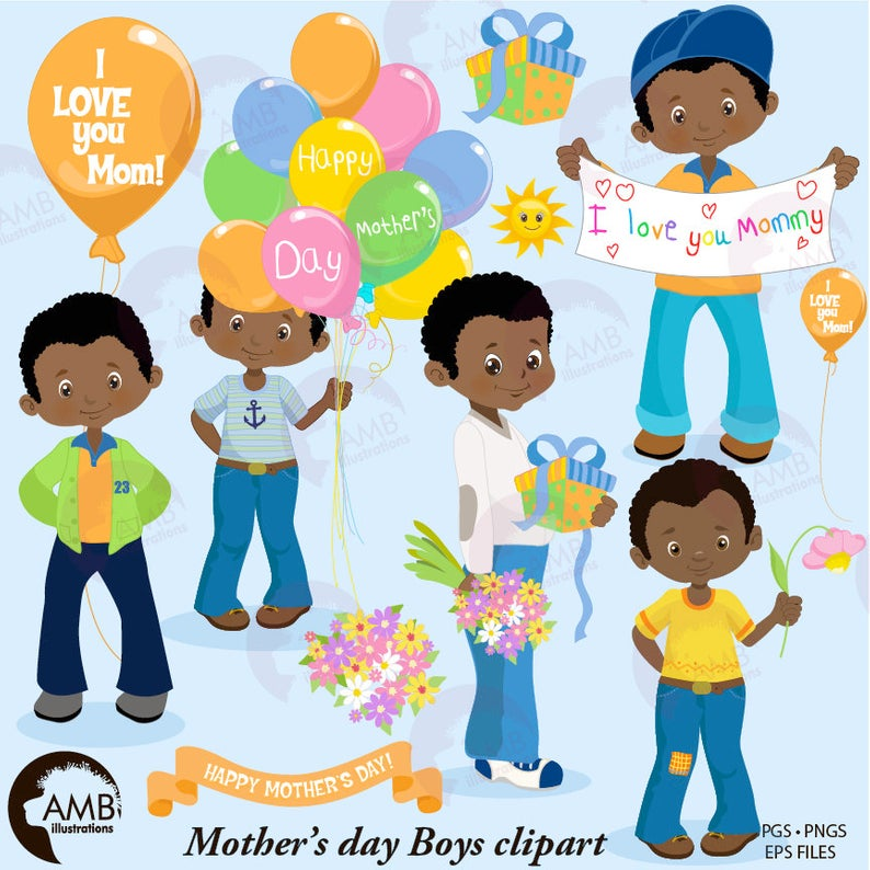 Mothers day Clipart, African American Mothers Day boys, Mom clipart, boys  holding flowers clipart, fashion kids, digital clip art, AMB.