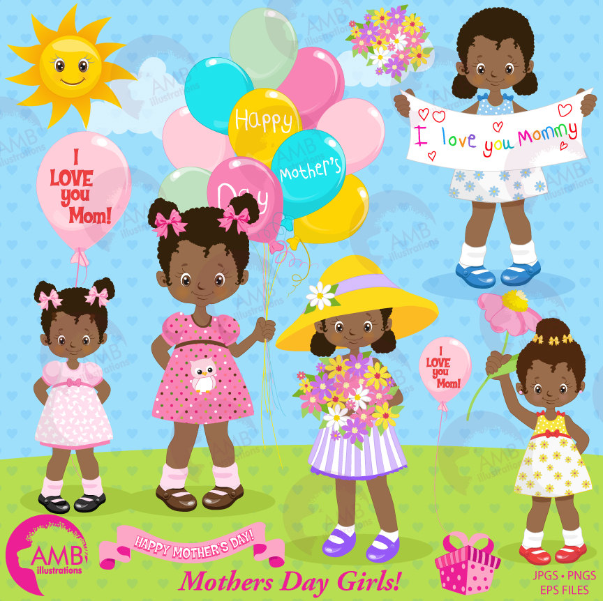 Mothers day Clipart, African American girls, Mothers Day kids, Mom clipart,  dark skin kids holding flowers clipart, fashion kids.