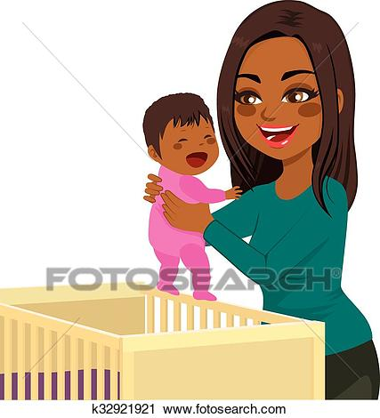 Young Mom Baby Crib Clipart.