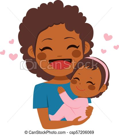 Cute African American Mother Baby.