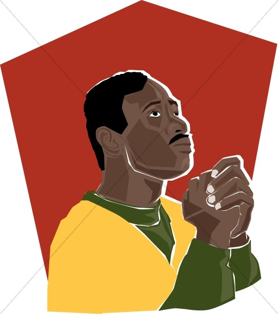 African American Woman Praying Clipart.