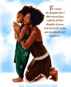 African American Mother And Daughter Clipart.