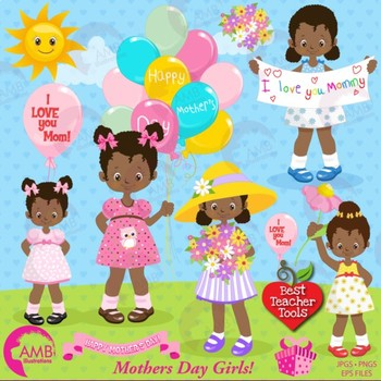 Mothers Day Clipart, African American Girls {Best Teacher Tools) AMB.