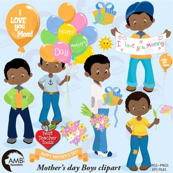 Mothers Day Clipart, Boy Clipart, African American {Best Teacher Tools}  AMB.