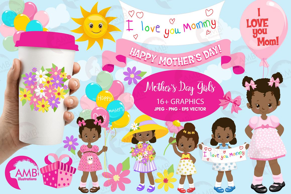 Mothers Day kids, African American girls, graphics, clipart, illustrations  AMB.