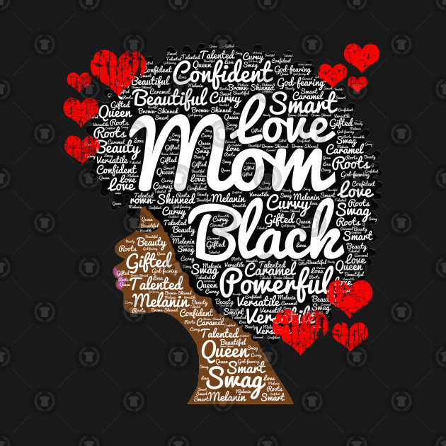 Mother\'s Day African American Mom Word Art.