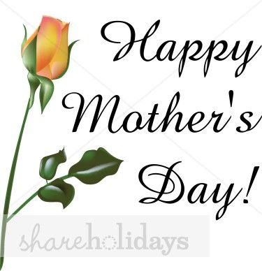 Happy Mother's Day Clip Art Black and White.