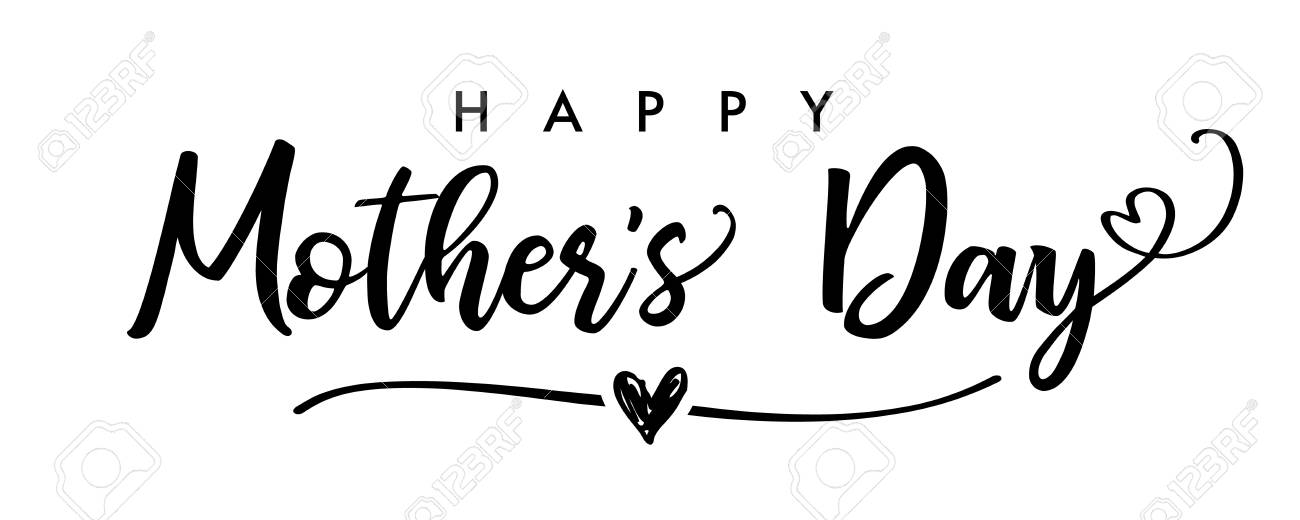 Happy Mother`s Day elegant calligraphy banner black. Lettering...