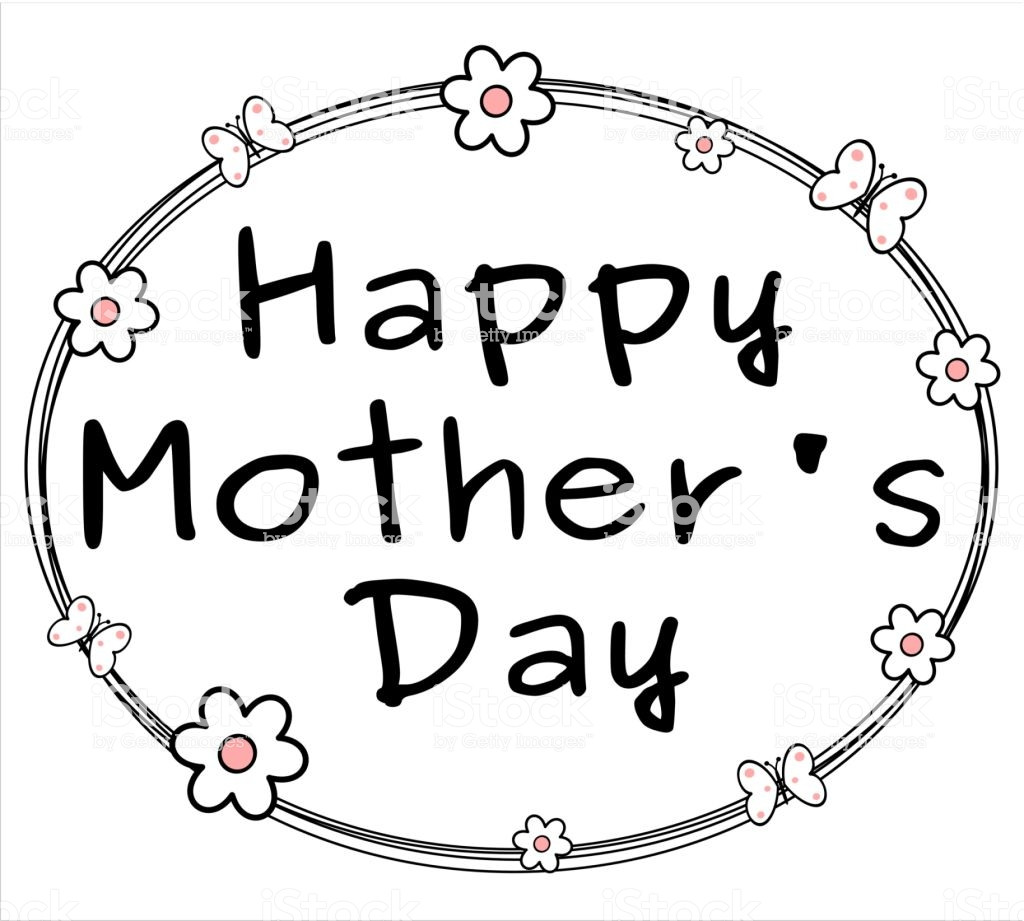 Cute Black White Pink Happy Mothers Day Background With Daisy.