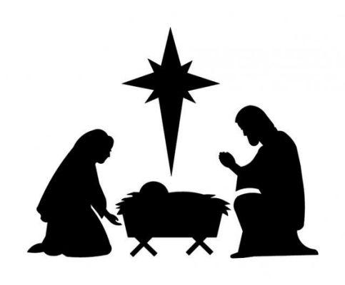 Nativity Scene Clipart Black And White.