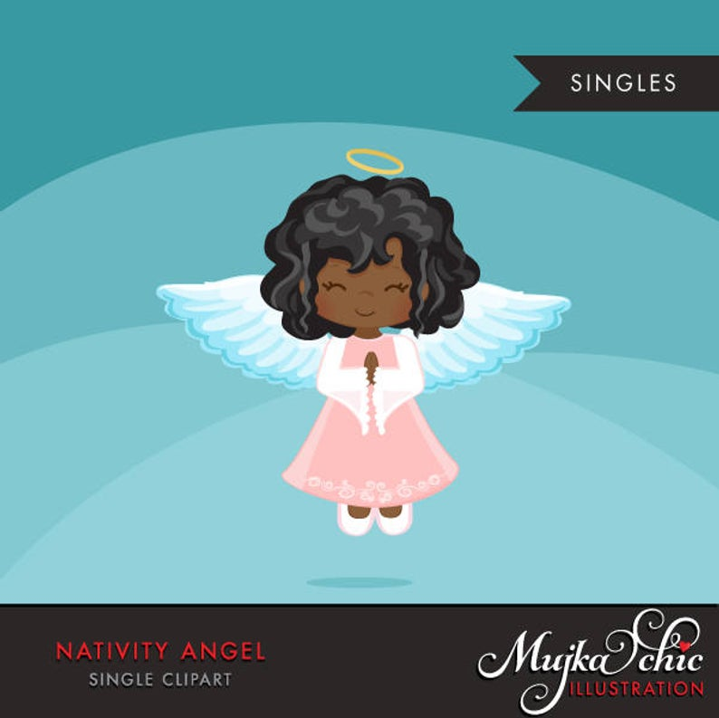 Nativity Angel Clipart. Christmas angel african american, holiday,  illustration, graphic, cute, character, religious, christian, holy, bible.