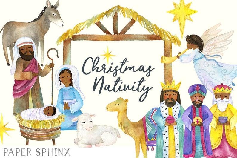 Watercolor Black Nativity Clipart.