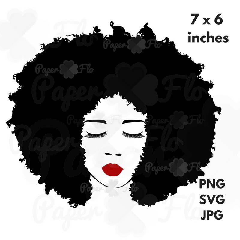 Big Afro hair SVG Eyelashes svg lips svg face clip art black natural.