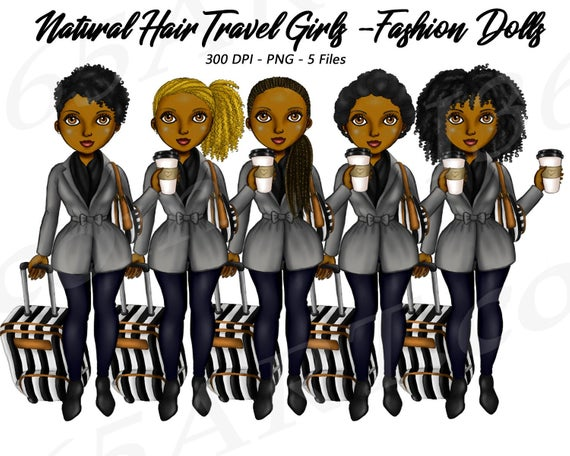 50% OFF Travel Girl Planner Clipart, Suitcase, Luggage, Natural Hair.