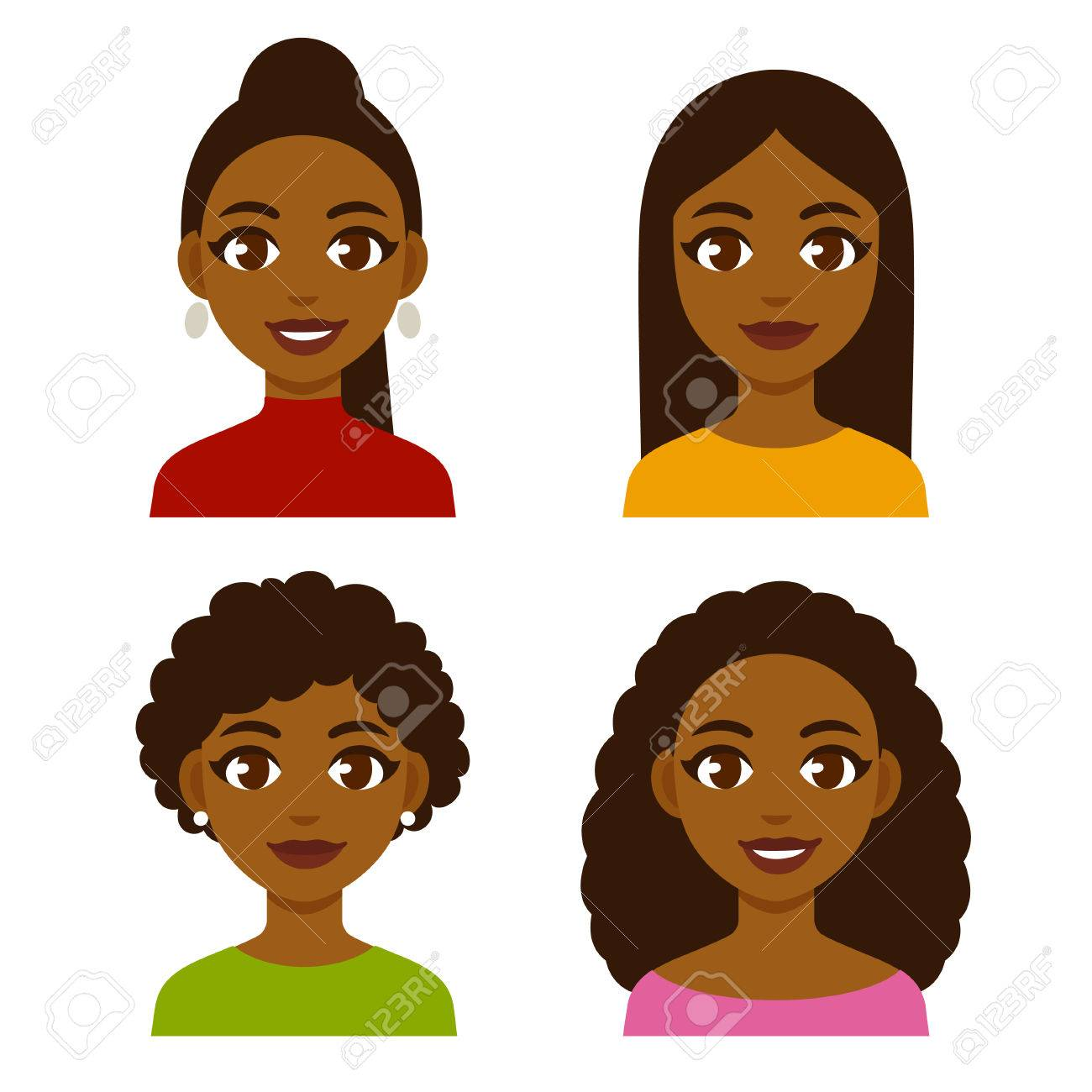Cute cartoon black girls with natural hairstyles and straightened...