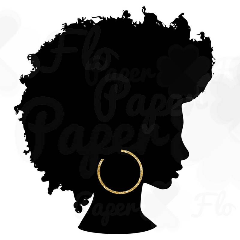 Afro Silhouette PNG Gold Hoops Clip Art Black Natural Hair PNG Files.