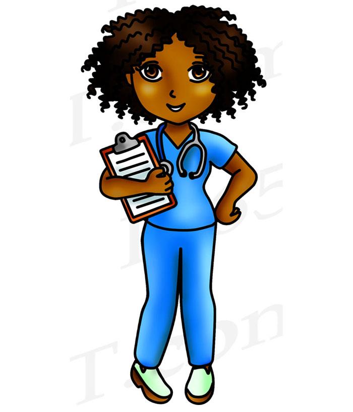 Black Nurse Clipart, Cute Nurse Girls PNG Download.
