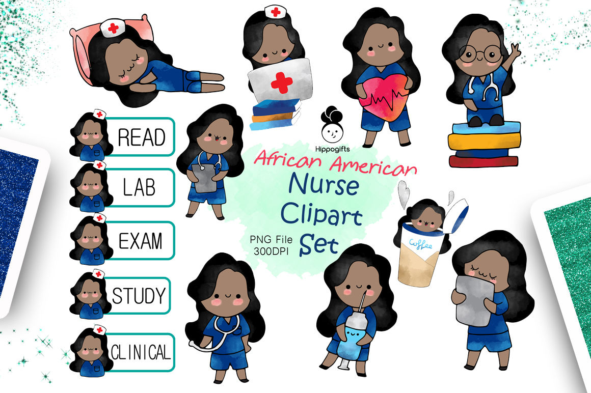 African american nurse clipart By Hippogifts.