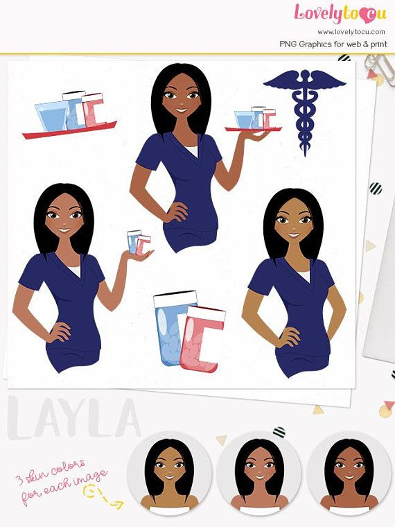 Woman nurse character clipart, girl care giver, healthcare.