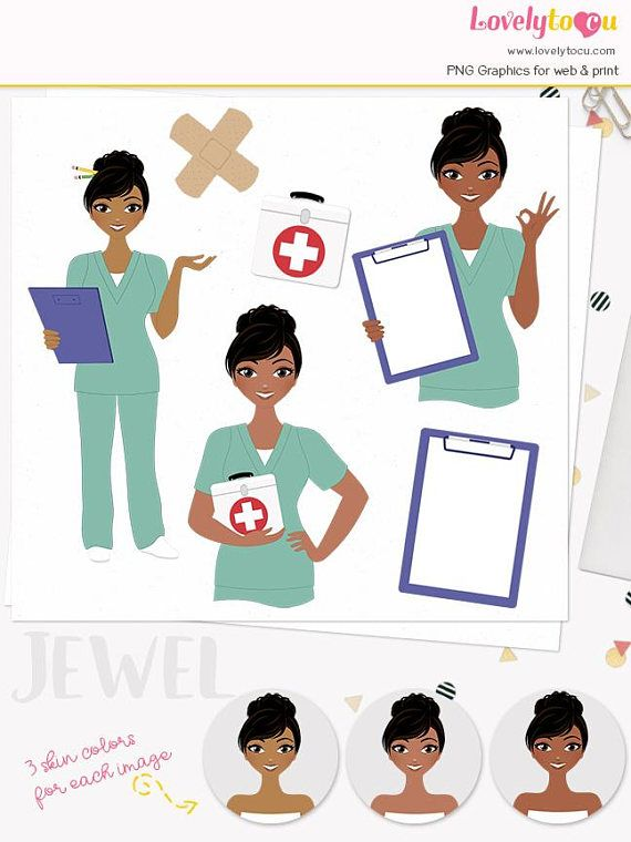 Woman nurse character clipart, first aid girl, health care.