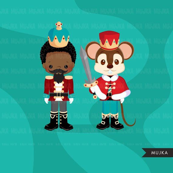 Christmas clipart, Nutcracker ballet characters, African.