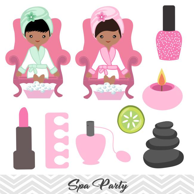 African American Spa Girls Clip Art, African American Girls Spa Party  Clipart, 0199.